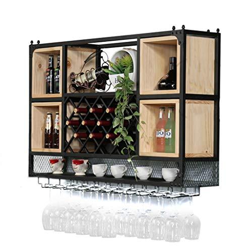 XY&CF-wine rack Wand-Weinregal Weinregal Weinkelch auf den Kopf nach unten Schmiedeeisen Holz...