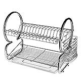 Nakey Égouttoir à Vaisselle en Métal Chromé Double Niveau avec Porte-Tasse et Égouttoir pour Couverts Support à Vaisselle