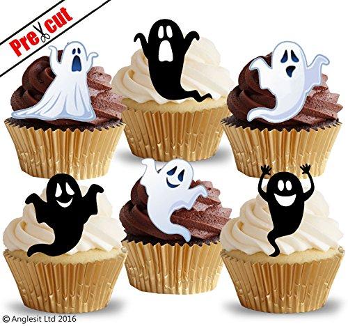 Lustige Geister - Vorgeschnittenes, essbares Reispapier (Kuchen und Cupcake Verzierung, Halloween Party Dekoration). (Von Geist Dekorationen Halloween)