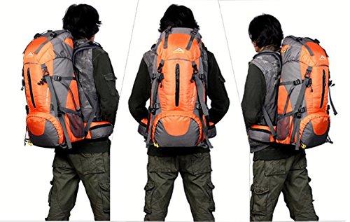 BM Campeggio arrampicata escursionismo parapioggia borsa zaino grande capacità per uomini e donne 50L , green Orange