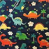 1Meter (100x 150cm) Baumwolle Stoff DIY Craft Material Print Farbe Dinosaurier blau unten