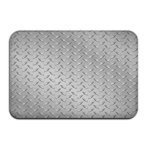 Non-Slip Indoor/Outdoor Door Mat Bath Mat,Wire Fence Design Netting Display with Diamond Plate Effects Chrome Kitsch Motif Print,for Living Room Bedroom Rugs Place Mats -