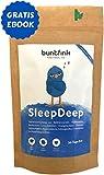 """Buntfink """"SleepDeep"""" Abendtee, Einschlaf- und Durchschlaftee, Beruhigungstee aus 10 Heilpflanzen zB Baldrian + Reishi, 100% natürliche Kräuterteemischung, Detox 30-Tage-Kur - 60g, Made in Germany"""