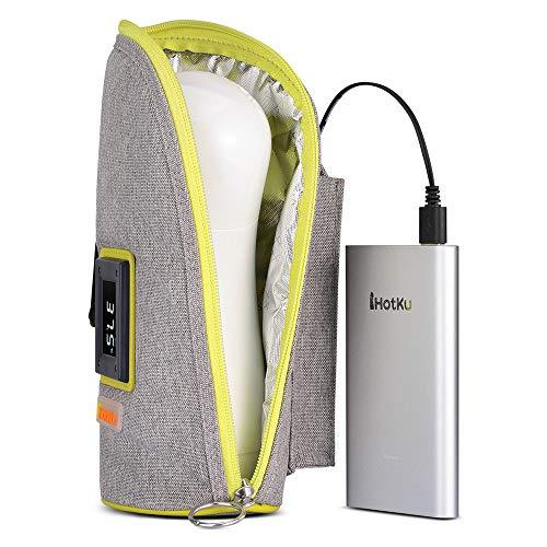 FNBABY USB-Babyflaschenwärmer Tragbarer Auto-Flaschenwärmer Intelligente Brustmilch Heate mit digitaler Touch-Anzeige, geeignet für USB, aufladender Schatz, Auto-Netzteil, 2 Modi, Reisgrau