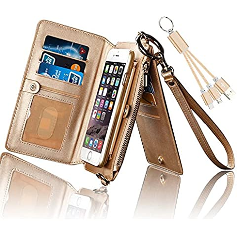 Carcasa iPhone 6, Funda iPhone 6s, Vandot [Series superior] Funda de Cuero Genuino de Alta Calidad con Soporte desacoplable y 13 Ranuras para Tarjetas, Monedero con Cremallera y Cable de Datos para el Apple iPhone 6 6s (Pantalla de 4,7) Oro Dorado
