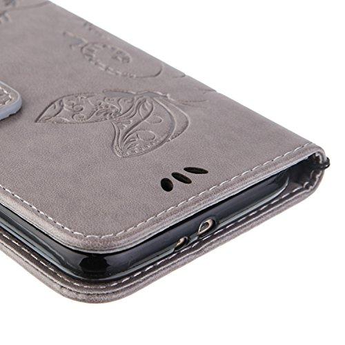 Galaxy S6 Hülle,Galaxy S6 Schutzhülle,Galaxy S6 Case,Galaxy S6 Leder Wallet Tasche Brieftasche Schutzhülle,ikasus® Prägung Klee Blumen Muster PU Lederhülle Flip Hülle im Bookstyle Cover Schale Stand S Groß Schmetterling:Grau