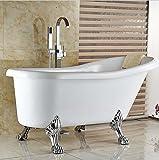 Gowe Bodenmontage Badewanne Wasserhahn Set 1-Griff Badewanne Filler ABS Handbrause freistehend