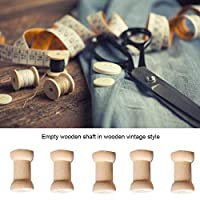 Rainai 20Pcs Natural Wooden Spools, Vintage Style Wooden Empty Thread Spools Hollow Wooden Bobbins for Sewing Ribbons Twine Wood Crafts Tools Thread Wire charmingly