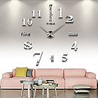 CAOLATOR Pegatinas Arte Reloj de Pared 3D con Números Adhesivos Bricolaje Moderno Decoración Pintado Para Sala de Estar /Ventana/ Fondo de TV /Dormitorio-Blanco