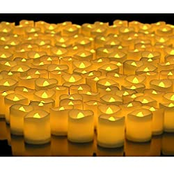 Premium Flickering like Beautiful and Elegant Led Candles Flameless Smoke Free Yellow Color Tea light for Diwali Gift Home Decor/ Wedding/ birthday/ festivals / aniversary / all purpose - Set of 24 Pcs (Battery Included) ...