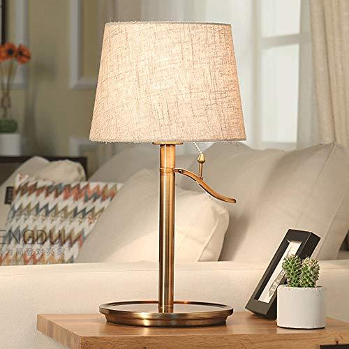 LLYU Europäische Stil Lampe Schlafzimmer Nachttischlampe einfache Moderne kreative Wohnzimmer Studie Tischlampe (Farbe : Metallic) -