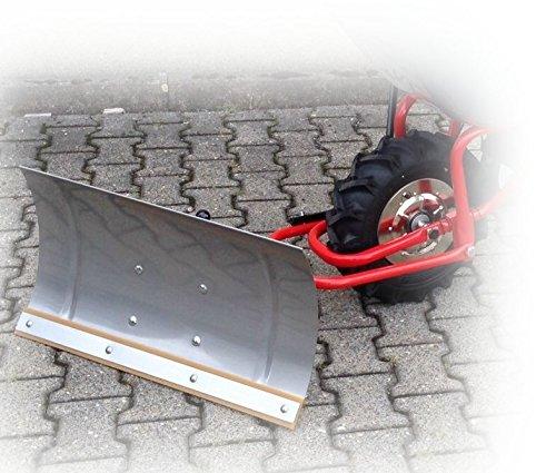 POWERPAC Schneeschild 740mm Edelstahl mit Gummileiste und Adapter passend für ED120 - AKKUSCHUBKARRE ELEKTROSCHUBKARRE AKKUSCHNEERÄUMER AKKUSCHNEESCHIEBER SCHUBKARRE DUMPER MOTORSCHUBKARRE