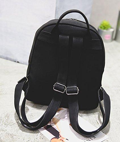 Himaleyaz Double Zipper Mode Frauen Rucksack 3pcs Set Rucksack Schultertasche Card Tasche für Dating für Party Schwarz Schwarz