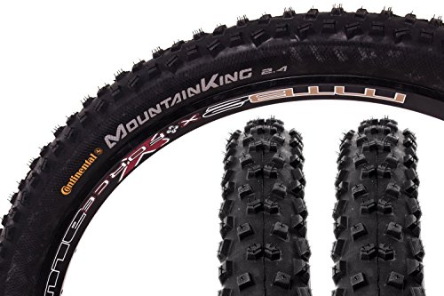 "2 Stück 27,5\"" Zoll Continental Mountain King II Fahrrad Reifen 60-584 Mantel 27.5x2.4 Decke Tire schwarz"