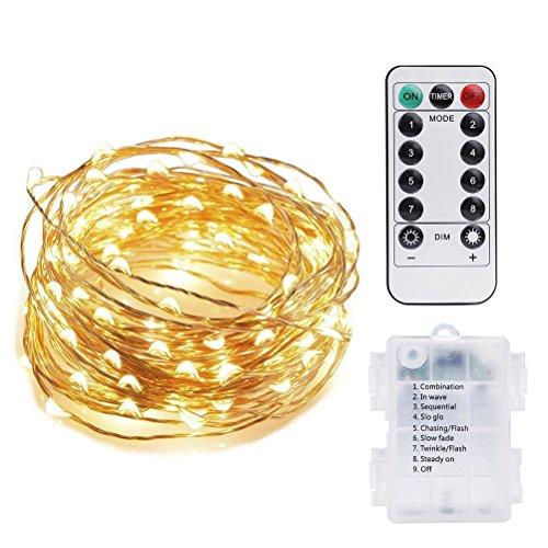 Vicloon Guirnaldas Luces LED Exterior, Cadena de Luces LED Impermeable 5M/50 LED, Blanco Cálido Interiores o Exteriores, Decorar para Casa, Navidad, Boda, Halloween y Todas Fiestas