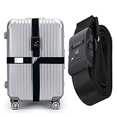 CSTOM TSA Approved Lock Luggage Straps Suitcase Cross Travel Belt