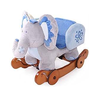 Labebe - Kinder Plüsch Schaukelpferd - Elefant mit Rädern (Blau)