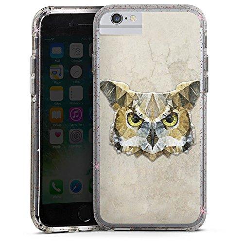 Apple iPhone 6 Plus Bumper Hülle Bumper Case Glitzer Hülle Owl Eule Vogel Bumper Case Glitzer rose gold