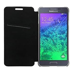 ACM High Quality Rich Leather Flip Case for Samsung Alpha Mobile Multi-Color Cover-Black