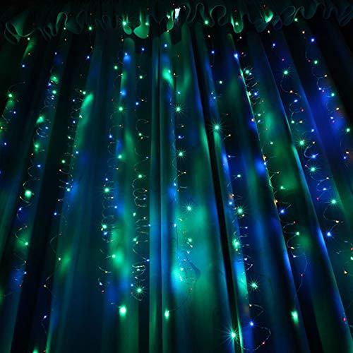CYL LED-Licht Schnur, Raumdeko-Licht, USB-Fernbedienung Kupfer Vorhang-Licht, Acht Funktions Regler Licht Schnur, Sternenlicht, Weihnachts-Hochzeits-Camping-Dekoration Licht,Motley(3 * 3M)