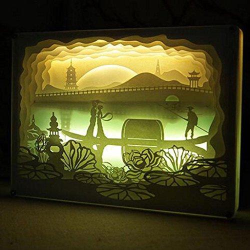 Y&F 3D Papier Geschnitzte Lichter Bedside Deko Tischlampen Valentine Paar Nacht Licht Plüschtiere Valentine