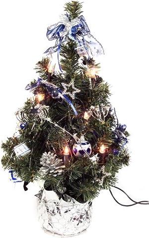 Brauns Heitmann Weihnachtsbaum, 45 cm, mit 10-teilig Beleuchtung, silber / blau 86990