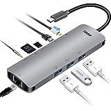 USB C-Hub, USB C-Adapter 3.1 mit Ladeanschluss Typ C, 3,5 mm Audio/Mikrofon 2in1, 4K HDMI, USB 3.0...