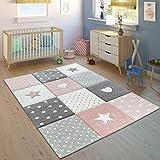 Paco Home Kinderteppich Pastellfarben Kariert Punkte Herzen Sterne Weiß Grau Rosa, Grösse:120x170 cm
