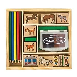Melissa & Doug 12410 Horses Stamp Set W/ 6 Colour Stamp Pad