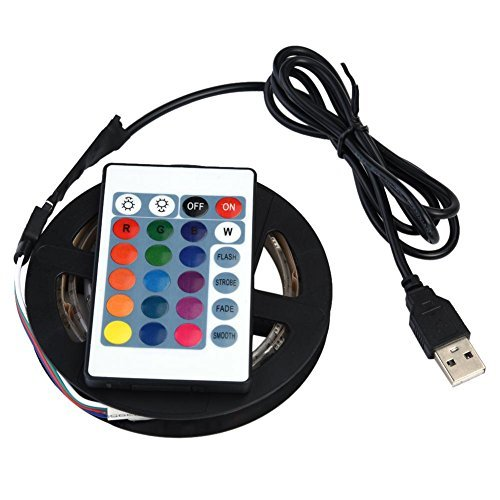1M / 2M / 3M / 4M / 5M Tira de Luz LED Impermeable 5050 Tira de Luces RGB con Control Remoto Flexible Kit de Luz de Fondo USB 5V Socialme-EU(2M)