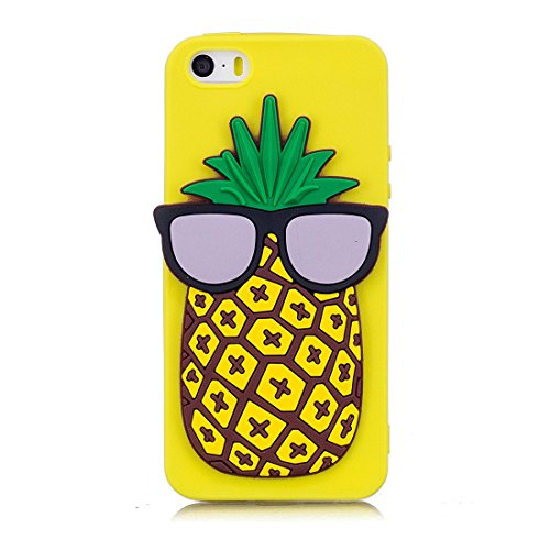 iPhone SE 5S 5C 5G Custodia, case Paraurti dassorbimento con TPU Back-Anti-Scratch Cover ( 3D Cartoon Ananas + giallo ) iPhone SE 5S 5C 5G Copertura Shell giallo