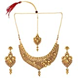 Efulgenz Indian Bollywood Traditional White Rhinestone Faux Ruby Emerald Heavy Bridal Designer Jewelry Choker Necklace Set in Antique 18K Gold Tone for Women and Girls