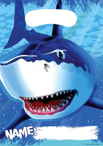 * mit Tragegriff für Party und Geburtstag // Geschenktüten Mitgebsel Mitgebseltüten Tüten Geburtstagstüten Hai Haifisch Shark Fische ()