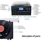 DIGITNOW! Plattenspieler mit Stereo Lautsprechern, Schallplattenspieler Kompaktanlage Stützen Bluetooth / CD / Kassettendeck / Radio / Vinyl to MP3 USB-Codierung / 33 45 78 U/Min / Fernbedienung Vergleich