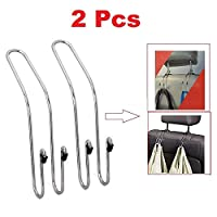 Aubess Car Hook Headrest Stainless Steel Seat Back Headrest Hanger Hook Bag Coat Holder Organizer 2x