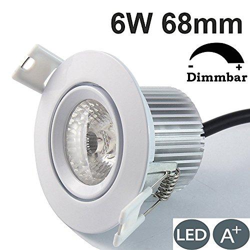 BRIMAX 6W 68mm LED Einbaustrahler Edelstahl Downlight,Dimmbar,ersetzt 50W Halogenlamp,AC 230v,LED Einbauleuchte, 5000K Tageslicht Weiß 38Grad Ohne Fahrer Deckenstrahler, Aluminium Gehäuse, 1 Packung