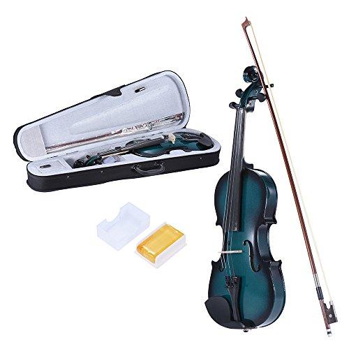 ammoon 4/4 Full Size Basswood Violinen Ahorn Rolle Griffbrett Stöpsel Aluminiumlegierung Saitenhalter mit Gute Qualität Kolophonium Bogen Violinen Kasten Steigungs-Farbe -