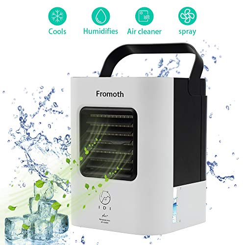 USB Mini Luftkühler, 4 in1 Air Cooler/Mobil Klimagerät/Luftreiniger/Luftreiniger,mit USB Anschluß/Nano-Filter,für Büro Garage und Haus(Weiß)