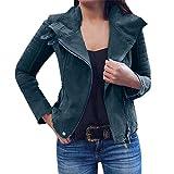 ESAILQ Damen Bomber Jacke Retro Rivet Casual Mantel Outwear Reißverschluss Oben (M,Blau)