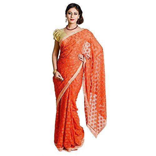 Ethnic Bliss Lifestyles Women's Chiffon Saree (Ethnic Bliss Lifestyles Orange Phulkari Saree...