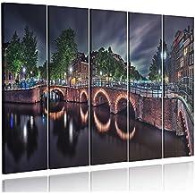 Feeby Frames, HDR - Cuadro Grande, Cuadro en lienzo - 5 partes - Cuadro impresión, Cuadro decoración, Canvas XXL, 140x300 cm, Tipo C, PUENTA, ÁMSTERDAM, NOCHE, GRIS, VERDE, AMARILLO