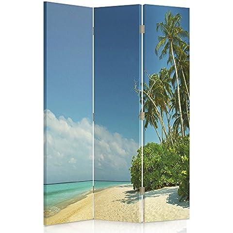 Feeby Frames Biombo impreso sobre lona, tabique decorativo para habitaciones, a una cara, de 3 piezas (110x180 cm), PAISAJE, PLAYA, PALMERAS, MAR, AMARILLO, AZURE