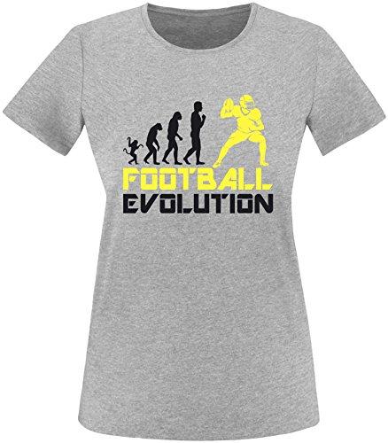 EZYshirt® Football Evolution Damen Rundhals T-Shirt Grau/Schwarz/Gelb