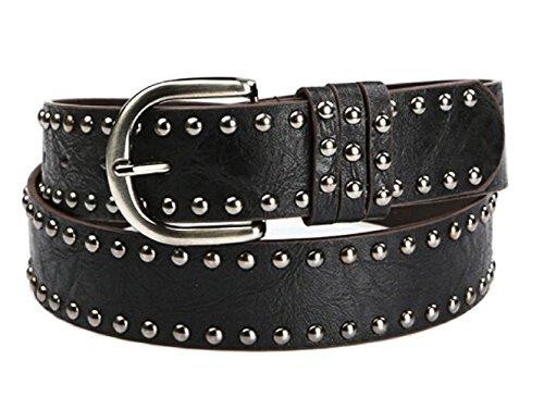 Inception Pro Infinite Cinturón para mujer - hombre - negro - tachuelas - Cuero ecológico - LT - 163