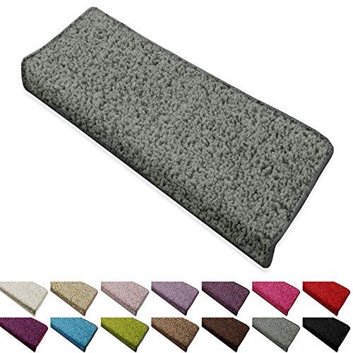 Shaggy Stufenmatten Barcelona von casa pura® | Schutz für Treppenstufen | weicher Hochflor | GUT-Siegel und Blauer Engel | rechteckig | Einzeln oder als Set | viele Farben | 1 Stück | Grau