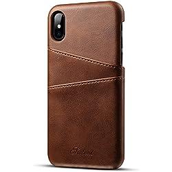 """iPhone XR (6.1"""") Coque Porte-cartes en cuir avec fente pour carte, housse de protection fin et ultra-léger, Marron"""