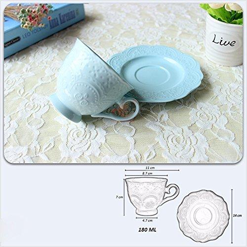 ZHGI Ceramica di tazze da caffè e piattini creative fiore di ghiaccio in porcellana tazze di tè e piattini English afternoon tea cups goffrato tazze e piattini suit,blu