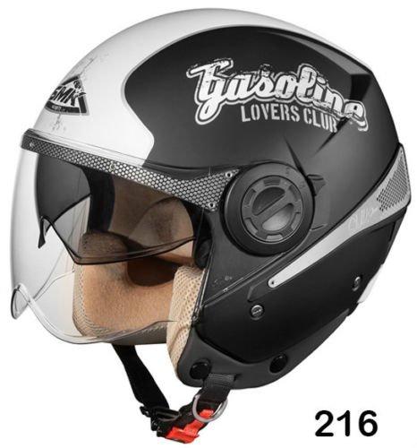 SMK Helmets - Sirius - Gasoline - Black - Open Face Dual Visor Motorcycle Helmet