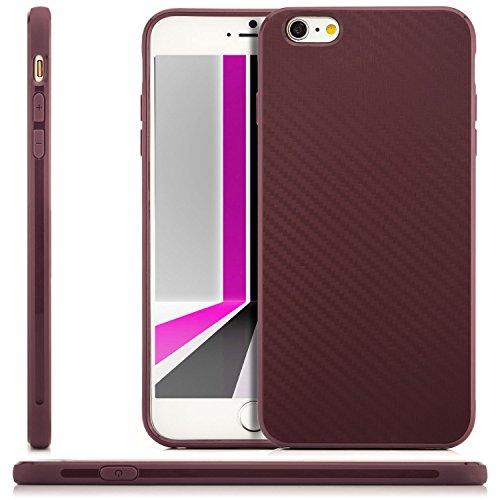 Coque Hülle iPhone 6 Plus / iPhone 6S Plus Case Silicone Cover Carbon Design Housse en TPU Mince Protecteur Bumper et pare-chocs Protection pour Apple iPhone 6 Plus / 6S Plus 5.5 pouces - Lilas Lilas