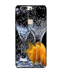 PrintVisa Designer Back Case Cover for Huawei Honor V8 (Yellow Fish Bubbles Soda Glasses )